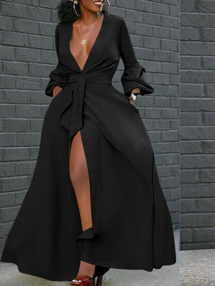 Lovely Party High Split Lace-up Black Floor Length A Line Plus Size Dress