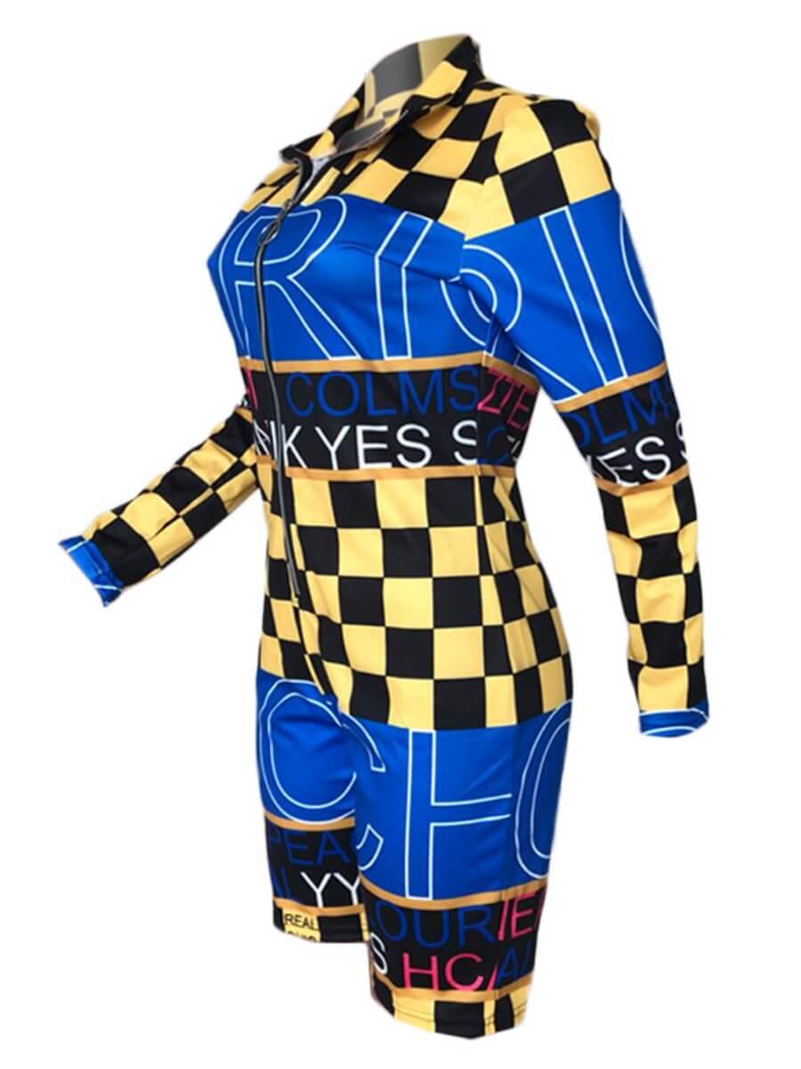 Lovely Sportswear Plaid Print Zipper Design Yellow