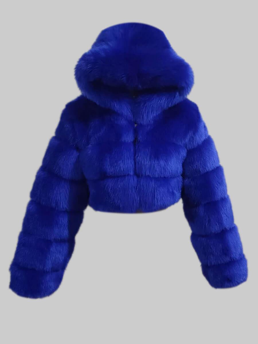 Lovely Casual Hooded Collar Zipper Design Sapphir Faux Fur