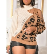 Lovely Stylish Patchwork Leopard Print Hollow-out Sweater