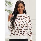 Lovely Vintage O Neck Dropped Shoulder Leopard Pri