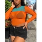 Lovely Street O Neck Patchwork Orange T-shirt