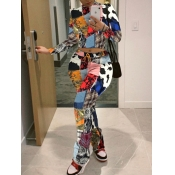 Lovely Street Full Print Patchwork Multicolor Two Piece Pants Set