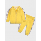 Lovely Sportswear Letter Print Patchwork Yellow Gi