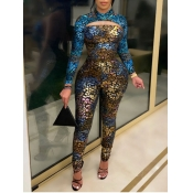 Lovely Trendy Print Skinny Gold One-piece Jumpsuit