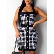 Lovely Stylish Cross-over Design Print Patchwork White Knee Length Dress