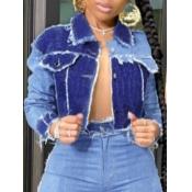 Lovely Casual Turndown Collar Patchwork Blue Denim Jacket