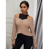 Lovely Casual Off The Shoulder Khaki Sweater