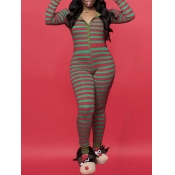 Lovely Leisure Striped Green One-piece Jumpsuit
