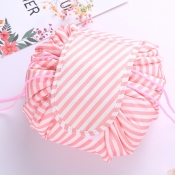 Lovely Stylish Striped Pink Makeup Bag