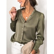 Lovely Formal V Neck Buttons Design Green Blouse