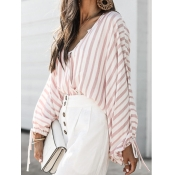 Lovely Casual Striped Drawstring Pink Cotton Blend