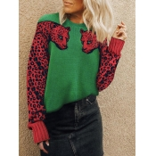Lovely Leopard Patchwork Onion Green Sweater