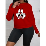 Lovely Casual O Neck Cartoon Rabbit Print Red Hood