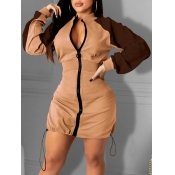 Lovely Casual Patchwork Zipper Design Brown Mini Dress