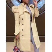 Lovely Trendy Buttons Design Khaki Trench Coat