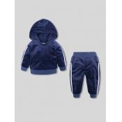 Lovely Sportswear Hooded Collar Patchwork Blue Gir