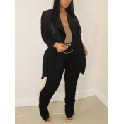 Lovely Formal Lapel Collar Black Two Piece Pants S