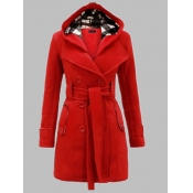 Lovely Trendy Hooded Collar Lace-up Wine Red Plus