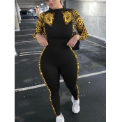 Lovely Chic Leopard Print Patchwork Black One-piec