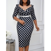 Lovely Formal Dot Print Patchwork Black Knee Lengt
