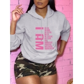 Lovely Leisure Hooded Collar Letter Print Grey Hoodie