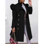 Lovely Trendy Buttons Design Black Trench Coat