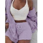 Lovely Stylish Lamb Fleece Purple Sleepwear(Three-piece)