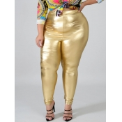 Lovely Casual High-waisted Elastic Gold Plus Size