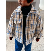 Lovely Casual Plaid Print Patchwork Blue Boy Jacke