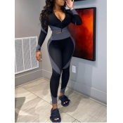 Lovely Sportswear Turndown Collar Patchwork Grey Two Piece Pants Set