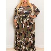 Lovely Casual Camo Print Army Green Floor Length A