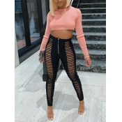 Lovely Street Hollow-out Crop Top Pink Two Piece P