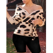 Lovely Street Lace-up Leopard Print Cross-over Des