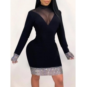 Lovely Party Half A Turtleneck Mesh Patchwork Blac