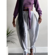 Lovely Casual High-waisted Knot Design Grey Plus S