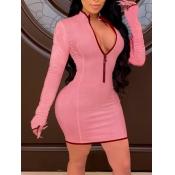 Lovely Leisure Zipper Design Patchwork Pink Mini D