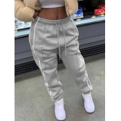 Lovely Leisure Striped Drawstring Grey Pants