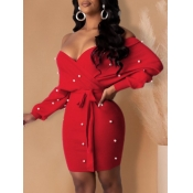 Lovely Party Off The Shoulder Pearl Decoration Red