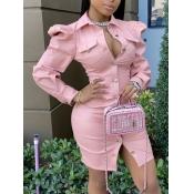 Lovely Casual Fold Button Design Pink Mini Shirt D