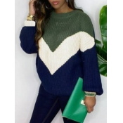 Lovely Casual Dropped Shoulder Color-lump Stitchin