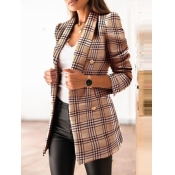 Lovely Stylish Turndown Collar Plaid Khaki Blazer