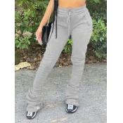 Lovely Street Drawstring Fold Design Grey Pants