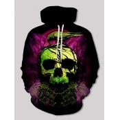 Lovely Street Hooded Collar Skull Print Black Boy