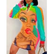 Lovely Sportswear Lip Print Patchwork Multicolor K