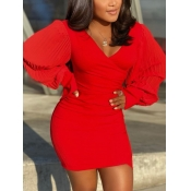 Lovely Party V Neck Batwing Sleeve Red Mini Dress