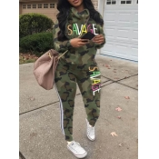 Lovely Sportswear Letter Print Striped Army Green Two Piece Pants Set