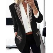 Lovely Formal Turndown Collar Leopard Print Black