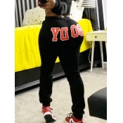 Lovely Casual Mid Waist Letter Print Black Pants