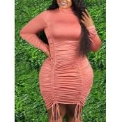 Lovely Trendy Drawstring Fold Design Pink Knee Len
